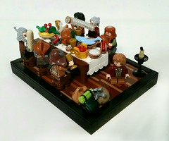 An Unexpected Party (LegoHobbitFan) Tags: lego moc build model creation hobbit middleearth lotr lordoftherings bilbo shire bagend food table feast dwarves dwarf fish fruit pie turkey