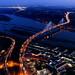 Port Mann Bridge at night 2019