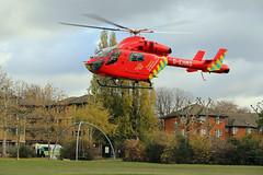 London's Air Ambulance in Ladbroke Grove (kertappa) Tags: img8326 air ambulance londons london hems doctor paramedics hospital gehms emergency helicopter kertappa kensington memorial park garden ladbroke grove