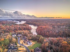 Storm Clouds at Sunset (Yer Photo Xpression) Tags: ronmayhew djimavicpro aerial sunset clouds storm lakelanier trees fall sky nature