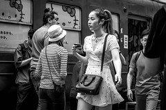 Tokyo 2019 (burnt dirt) Tags: shibuya tokyo japan asia japanese asian candid documentary street photography downtown metro urban city scramble crossing outdoor people person fujifilm xt3 fujinon 50mm f2 bw blackandwhite monotone monochrome woman girl smile laugh train station style fashion life real crowd tourist nippon emotion expression portrait close ponytail
