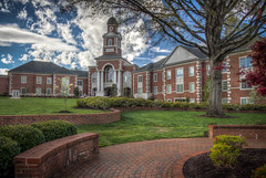 Lee University (donnieking1811) Tags: tennessee cleveland leeuniversity university architecture building outdoors sidewalk trees bushes flowers sky clouds blue brick columns hdr canon 60d lightroom photomatixpro