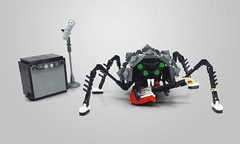 Sid the Spider (Grayson M!) Tags: bionicle spider house cricket bug buge punk rock guitar amp amplifier vans lego constraction studded jacket black microphone