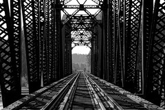 Intricate Structures of a Bridge (Black & White) (thor_mark ) Tags: alaska2019 alaskarailroad azimuth135 blackwhite blueskies bluesskieswithclouds bridgetruss day5 dxophotolab3edited dxoviewpointperspective imagecapturewitharsenal landscape lookingse miscellaneous nikond800e outside partlycloudy portfolio project365 railline railroad railroadbridge railroadcrossing railroadtrack railroadtracks railwaytracks steeltruss sunny talkeetnamountains truss witharsenal talkeetna alaska unitedstates