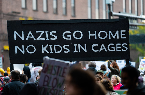 Nazis go home no kids in cages - Minneapolis Trump Campaign Rally Protest