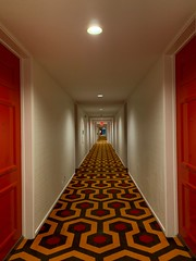 Hallway (remiklitsch) Tags: remiklitsch pattern phonography iphone palmspings travel midcentury red hotel hallway
