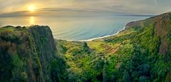 Te Toto Gorge Panorama (Jos Buurmans) Tags: cliff coastallandscape coastline evening goldenhour gorge landscape nature newzealand northisland panorama raglan seascape suninframe sunset tetotogorge valley waikato waikatodistrict nz