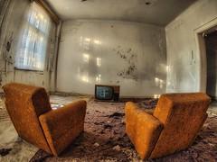 TV for 2 (baumfinder) Tags: abandoned verlassen verfall decay kurklinik cure clinic tv armchair urbex urbanexploration