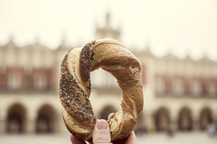 Obwarzanek krakowski (Cat Girl 007) Tags: bagel baked bakery blue braided bread cuisine delicious downtown europe food fresh freshness gourmet healthy krakow market nutrition poland pretzel product roll scene snack street symbol tasty tourism tourist traditional urban