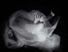 untitled (ChrisRSouthland (mostly off, traveling & working)) Tags: bw surreal monochrome motion blur motionblur veil hand arm figure movement ricohgriii griii cocoon