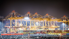 Container-Terminal Bremerhaven (ChristianMandel) Tags: bremerhaven port terminal nachtaufnahme nightshot ship container crane cars ilce7iii sonya7iii sel85f18