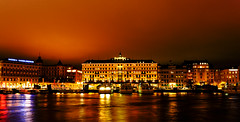 Le Grand de Sverige (E-C-K ART) Tags: gold lights stockholm sweden hotel grand sea water reflection mirror orange scandinavia stars