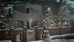 Baby, It's Cold Outside (Jessa ♥) Tags: christmas winter home holiday holidays snowman snow man fence wall landscaping winterscape second life secondlife virtual decor design 3d digital photography photo art