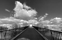 the bridge (Renate R) Tags: bridge islandofyouth inselderjugend brücke spree river sky berlin blackwhite