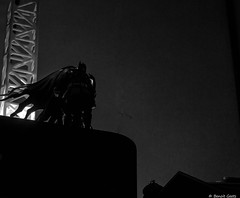 Batman in the wind (BenoitGEETS-Photography) Tags: batman bw bn noiretblanc nb a6000 sony figurine toys jouet 112 night nuit light lumière contrejour surveillance oversight wind vent