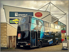 TRAPP`D in a corner........... (Jason 87030) Tags: plaxton president volvo b7tl black bklue game fun cobblers ntfc keithcurle shot wanted advert sixfields pts academy northants northampton match northamptonshire vehicle wheels transport uk england weather