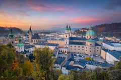 Salzburg. (Rudi1976) Tags: salzburg austria cathedral autumn sunset church sky mountainrange cityscape street tower city urbanscene town historicalbuilding 2019 europeanalps evening europe buildingexterior nopeople oldtown scenics history landmark architecture traveldestination tourism unesco outdoors downtown travel landscape urban aerial view historic