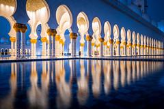 Gold (Chris Buhr) Tags: mosque moschee kirche church abu dhabi uae vereinigte emirate zayid zayed blaue stunde blue hour reflexion reflection leica m10