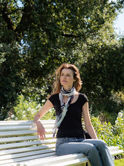 Mariëlle, Dorset 2019: Bathing in autumn sun (mdiepraam) Tags: marielle dorset 2019 kingstonlacy nationaltrust portrait pretty gorgeous attractive mature fiftysomething brunette woman lady milf elegant classy scarf jeans denim bench park