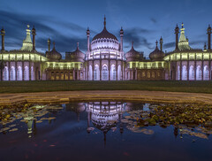 down by the pond (Wizard CG) Tags: brighton royal pavilion prince wales george 1823 sussex revival architecture england residence asian style palace garden lights photography long exposure water refelction colours bulding united kingdom clouds epl7 sun set blue h
