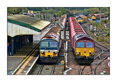 Brothers in Arms (david.hayes77) Tags: westbury wilts wiltshire 2019 class59 dbcargo 7a17 6m20 agregate freight cargo autumn sisters brothers class66 shed 66127 colas class70 b3097 hanson 59104 villageofgreatelm 70807