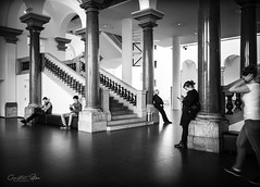 the.other.day.at.the.museum (grizzleur) Tags: ricoh ricohgriii museum k21 düsseldorf people distributed spaced angle angles line lines vertical verticals pillars strong mono monochrome bw blackwhite humanelement room open street streetphotography candid candidphotography