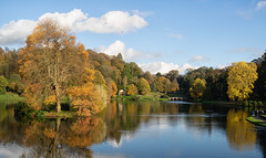 The bridge and lake in Autumn (ORIONSM) Tags: lake water bridge autumn trees reflection golden stourhead landscape vista seasons olympus omdem1 olympus14150mm