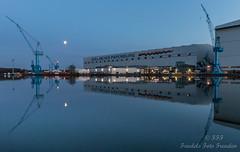 Rest in the Werfthafen - time for reflections (Friedels Foto Freuden) Tags: canond80 papenburg werft hafen spiegelung halle kräne mond blauestunde