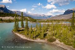 North Saskatchewan River Crossing, Banff N.P., Canada (zellerw0) Tags: trees rockymountain northsaskatchewan icefieldsparkway river alberta canada water nationalpark banff mountain