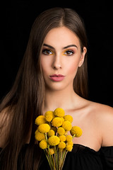 Craspedia (sylvievienne) Tags: approved photography photoshoot photo photographer studio portrait concept conceptual canon profoto model makeup beauty woman flower yellow craspedia fine art