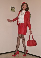 Red leather. (sabine57) Tags: crossdressing transvestism crossdress crossdresser cd tgirl tranny transgender transvestite tv travestie drag pumps highheels pantyhose tights patternedpantyhose patternedtights skirt miniskirt shortskirt blouse jacket redleatherjacket handbag flower