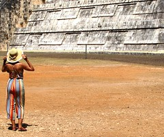 Mayan pyramid (thomasgorman1) Tags: tourist pyramid mayan travel woman sunhat candid mexico tourism yucatan public temple archaeological
