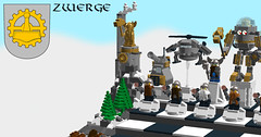Chess Dwarven Factory (eldarseer) Tags: 5rchess lego chess steampunk dieselpunk atompunk fantasy dwarf soldier military fortress tank helicopter mech robot jetpack mountains