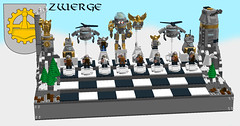 Chess Dwarven Army (eldarseer) Tags: 5rchess lego chess steampunk dieselpunk atompunk fantasy dwarf soldier military fortress tank helicopter mech robot jetpack mountains