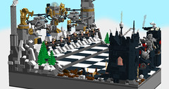 World of Five Races Chess: Dwarves vs. Demons (eldarseer) Tags: 5rchess lego chess steampunk dieselpunk atompunk fantasy dwarf soldier military fortress tank helicopter mech robot jetpack mountains