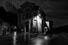 Night Backstage (drugodragodiego) Tags: alone casto provinciadibrescia lombardia italia church italianchurch shadows architecture blackandwhite blackwhite bw biancoenero pentax pentaxk1 k1 pentaxdfa2470mmf28 hdpentaxdfa2470mmf28edsdmwr reflections