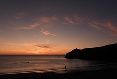 Photo of Horse rider in the sea at Sunset. Abereiddy, Pembrokeshire.