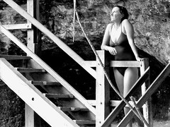 Cenote X'Canche (thomasgorman1) Tags: cenote waterhole stairs steps woman swimwear bw monochrome mexico travel yucatan underground candid