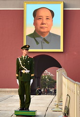 Tiananmen gate Chinese police guard by famous Mao Zedong portrait, Beijing, China (German Vogel) Tags: security police guard gate politician foundingfather chineserevolution government politics tiananmengate asia travel tourism traveldestinations touristattractions famousplace eastasia china beijing peking capitalcities locallandmark nationallandmark chineseculture tiananmen tiananmensquare publicsquare maozedong