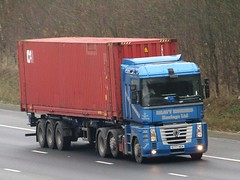 Heavy Engines Haulage, Renault Magnum  (S777HEH) On The A1M Northbound (Gary Chatterton 8 million Views) Tags: heavyengineshaulage renaulttrucks renaultmagnum s777heh shippingcontainer trucking wagon lorry haulage distribution logistics transport motorway flickr canonpowershotsx430 photography