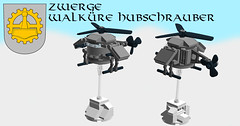 Dwarven Knights - Valkyrie Helicopters (eldarseer) Tags: 5rchess lego chess steampunk dieselpunk atompunk fantasy dwarf soldier helicopter mountains military