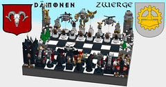 World of Five Races Chess: Dwarves vs. Demons (eldarseer) Tags: 5rchess lego chess steampunk dieselpunk atompunk fantasy dwarf soldier military fortress tank helicopter mech robot jetpack mountains demon cannon gargoyle magic