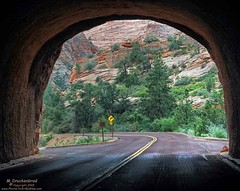 Exiting the Zion-Mt. Carmel Tunnel, Zion National Park Utah (PhotosToArtByMike) Tags: utah ut tunnel zionnationalpark zionmountcarmelhighway zionmtcarmeltunnel mtcarmelhwy utahhwy9 landscape sandstone desert scenic canyon cliffs erosion limestone gorge arid desertlandscape rockformations sheer route9 rockspires goldensandstone