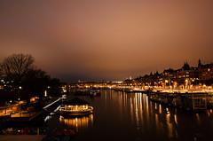 Stockholm by night (E-C-K ART) Tags: stockholm sweden scandinavia night light hdr water sunset tree bridge reflection strandbryggan orange yellow glossy shiny long exposure