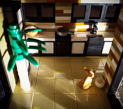 Curry House MOC. Kitchen by night. (betweenbrickwalls) Tags: lego afol kitchen interiordesign interiors home living modernhome design night