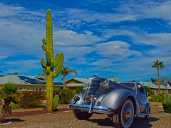Toon Town (oybay©) Tags: 1938 chevrolet car automobile suncitywest arizona cactus sky clouds blue classiccar november iphone11promax