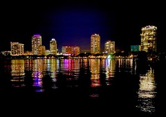 Downtown St. Petersburg after Dark Reflected in the Vinoy Basin (StephenLeedyPhotography) Tags: reflection urban street night light st petersburg florida vinoy basin