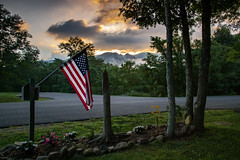 View from Managers Spot (Brad Prudhon) Tags: 2019 july places senecarocks senecashadowscampground sunrise westvirginia campground campsite flag
