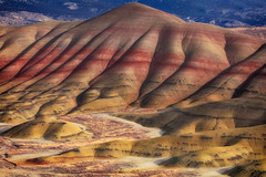 Ripples Of Color (Ian Sane) Tags: ian sane images ripplesofcolor paintedhills red laterite bands colors sunlight sevenwondersoforegon mitchell oregon wheeler county landscape photography canon eos 5ds r camera ef70200mm f28l is usm lens