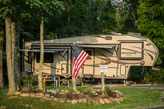 Campground Manager Parking Spot (Brad Prudhon) Tags: 2019 july places rocky senecarocks senecashadowscampground westvirginia campground campsite flag